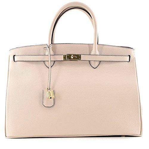 Rouven / Icone 40 Tote Bag / Elfenbein Beige Creme / Gold / Damen Leder Tasche Shopper Handtasche / groß / edel modern chic puristisch / 40x28x19cm (Leder Handtasche Elfenbein Tasche)
