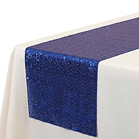 VEEYOO 35 x 275 cm Sparkly Glitter Sequin Table Runner - Wedding Party Dining Kitchen Cloth Linens, Royal
