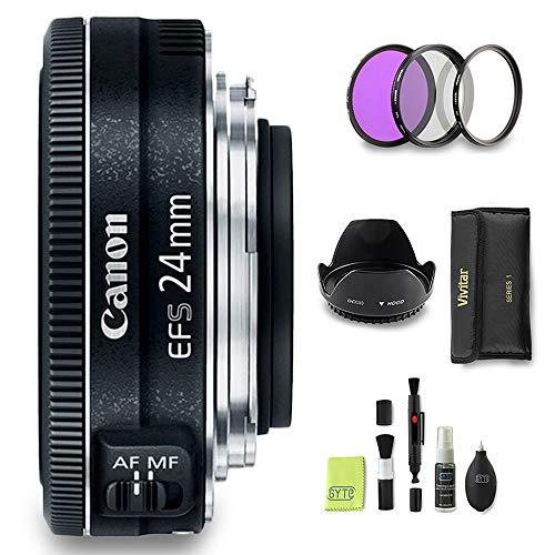 GYTE Bundle   Canon Objektiv - EF-S 24 mm 1:2,8 STM - Pancake Objektiv für Canon Spiegelreflexkamera + 3-teiliges Filterset + Streulichtblende + Reinigungsset   Premium Zubehör Bundle