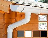 Dachrinnen/Regenrinnen Set | Pultdach (1 Dachseite) | Extra100 | in 4 Farben! (Komplettes Set bis 5.25 m, Weiß)