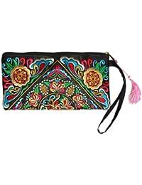 4c63f9dd3 Bolso de las mujeres, señora bolso monedero mujer hecho a mano nación Retro  bordado bolsa carteras Zip pulseras…