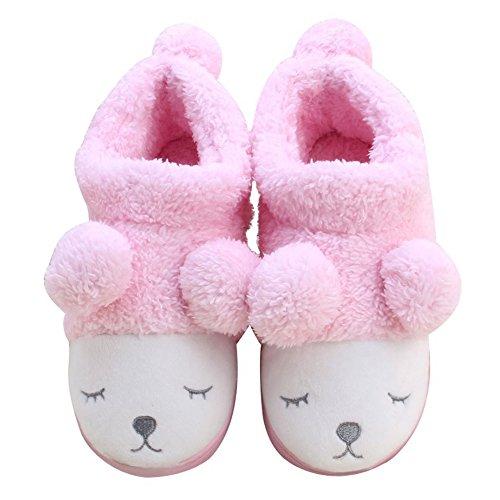 Winter Unisex Wärme Nette Karikatur Rabbit Hausschuhe Plüsch Soft Sole Indoor Slipper Baumwolle Pantoffeln Rosa EU 35-36