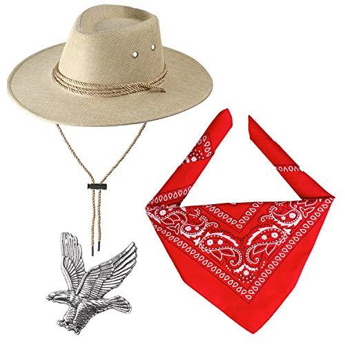 Beelittle Accesorios de Disfraces de Vaquero Sombrero de Vaquero Pistolas de...