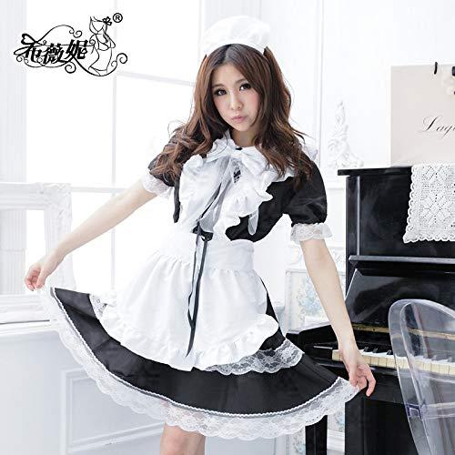 zysymx Maid Kostüm Cosplay Kostüm Lolita Leistung Uniformen Dessous COS Anime niedliche Prinzessin Magd Set - Indien Kostüm Schmuck Sets