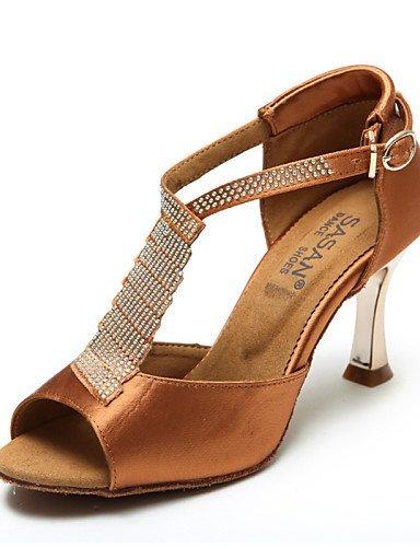 ShangYi Chaussures de danse ( Noir / Chocolat ) - Non Personnalisables - Talon Bobine - Flocage / Paillette Brillante - Latine / Salsa Black