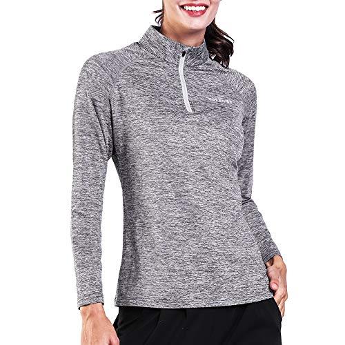 Ogeenier Mujer Camiseta Deportiva de Manga Larga con Cremallera - Camiseta Térmico de Correr Yoga