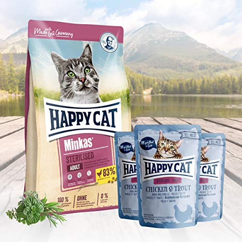 Happy Cat Minkas Sterilised Geflügel 10 kg + 3 x 85 g -
