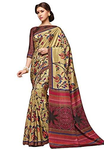Alveera Party Collection Latest Design Kalamkari Designer Silk Saree With Blouse - Khaki