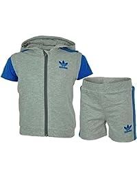 Adidas Infants 3 Pcs Set Baby Infants Jungen Originals Firebird T-Shirt Short Hoody Grau