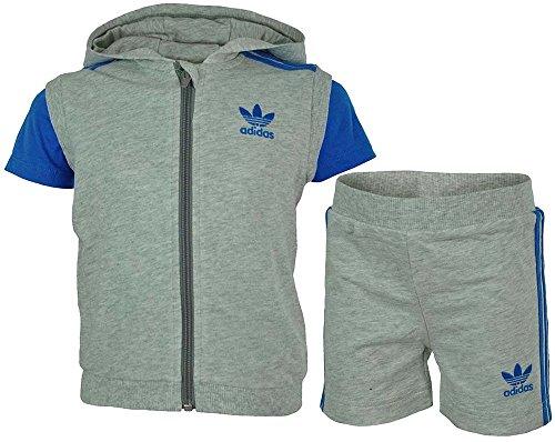 Adidas Infants 3 Pcs Set Baby Infants Jungen Originals Firebird T-Shirt Short Hoody Grau, Grösse:D/86 - UK/12-18M - US/18M - FR/12-18M