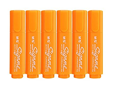 Set of 6 Tank-Style Colored Highlighters, Permanent Markers For Students, Orange