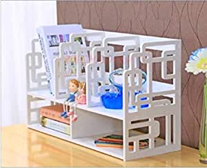 SS ARTS Wood Plastic Composite Desktop Book File Storage Shelf for Home (40 cm x 21 cm x 30 cm, White) (Pattern 2)