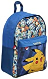 Pokemon Backpack with Oversized Front Pocket Featuring Pikachu Holiday Bag Cabin Luggage Back to School Bag (Blue)