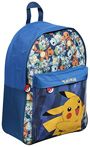Image of Pokemon Backpack with Oversized Front Pocket Featuring Pikachu Holiday Bag Cabin Luggage Back to School Bag (Blue)