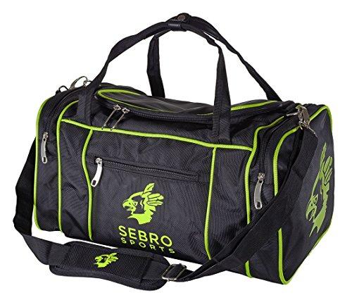 Praktische Sport-Tasche für Damen und Herren   Trendige GYM BAG mit vielen Fächern, Schultergurt, Tragegurt für Fitness, Sport und Reisen   SEBRO SPORTS