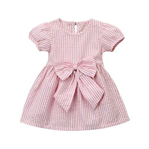 Kobay Baby Mädchen Infant Kleinkind Kinder Kleidung Streifen Bogen Prinzessin Outfits Kleid