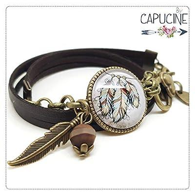 Bracelet 3 Tours Plumes Attrape Rêves Marron avec Cabochon Verre, Breloque et Perle en Jade, Métal Bronze, Simili Cuir, Ajustable