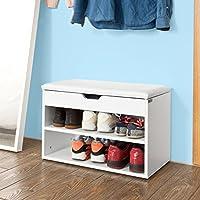 SoBuy FSR25-W Banc de Rangement à Chaussures 2 étages avec Coussin Commode à Chaussures Confortable- Blanc