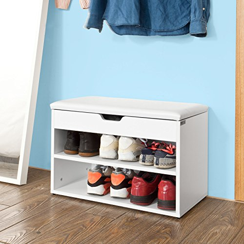 SoBuy® Wooden Shoe Cabinet, 2 Tiers Shoe Rack Shoe Storage Bench With  Folding Padded Seat, White, FSR25 W