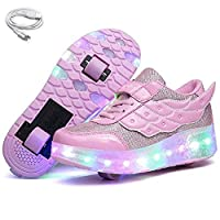 Ehauuo Girls Roller Shoes Kids Sparkling Wheels Shoes Boys Light up Roller Skates Sneakers Rechargeable Flashing Sneakers for Gift (11.5 M US Little Kid, A-Pink)