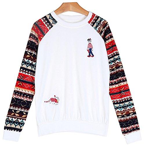 WanYang Femmes Plus Size Print Xmas Tops Plus Size Noël T-shirt col Rond Blouse White_02