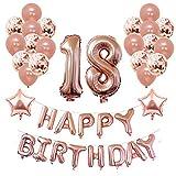 Yoart 18. Geburtstag Dekorationen Rose Gold für sie und Mädchen Party Supplies 39 Stück mit Alles Gute zum Geburtstag Banner Konfetti Latex Ballons Sterne Folienballons