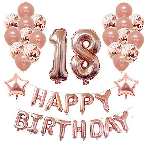 Mädchen Party Supplies - Yoart 18. Geburtstag Dekorationen Rose Gold