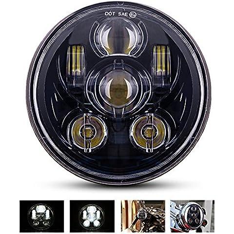 MICTUNING 5.75''Pollici LED Faro Fanale Faretti Fanalino 45W Luce Anteriore Hi/Lo Lampada Frontale 9 Pezzi Bulci Proiettore per Motocicletta Harley Davidson Nero