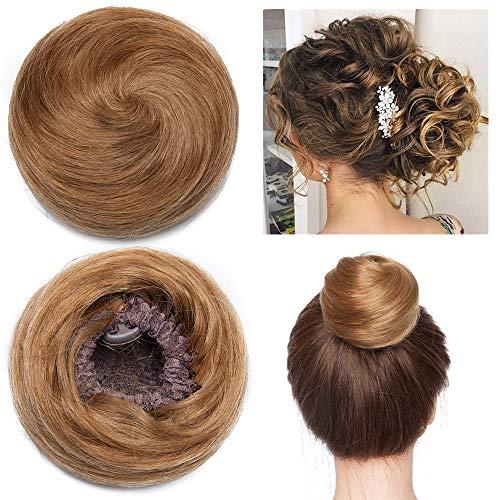Extension chignon capelli veri clip elastico effetto naturale voluminoso capelli lisci con 2 clips magic hair bun coda updo crocchia 30g #6 marrone chiaro