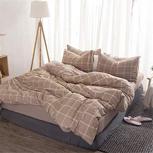 SHJIA Bettbezug aus gewaschener Baumwolle Weiche Bettwäsche-Sets Bedskirt Pillowshams Queen King Twin Größe E 220x240cm -