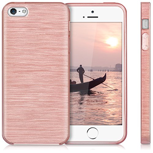 kwmobile Hülle für Apple iPhone SE / 5 / 5S - TPU Silikon Backcover Case Handy Schutzhülle - Cover Metallic Blau Brushed Aluminium Rosegold Transparent