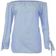 Blusa Mujer Sexy, BBestseller Camiseta de Verano Mujer Sexy del Hombro Tops Casuales Raya Blusas