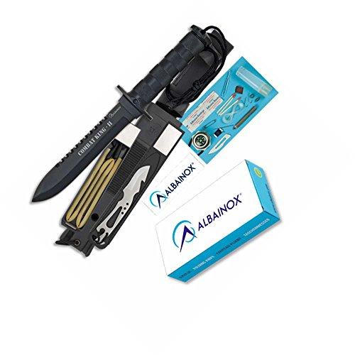 Martinez-31772-Cuchillo-supervivencia-Combat-King-ll-Hoja-negra-acero-inox-de-16cm-completo-kit-de-accesorios