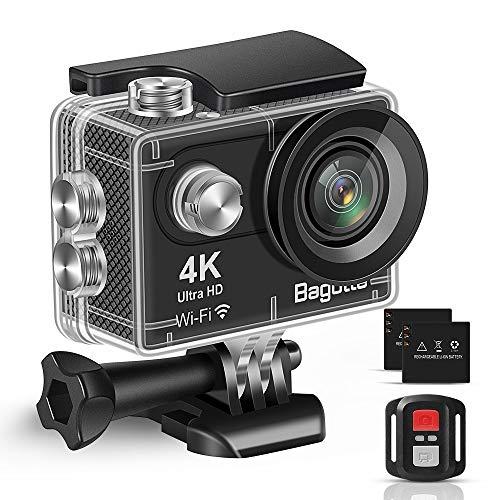 Bagotte Action Cam 4K WiFi Unterwasserkamera 30M Wasserdicht 16MP Ultra HD Sport Kamera Geeignet für Reisen Outdoor-Sportarten mit 2*Herausnehmbarer Akkus und Gratis Zubehör