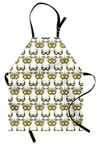 ABAKUHAUS Mardi Gras Kochschürze, Festliches Muster mit Masken-traditionelles Karnevals-Feier-Kostüm, Farbfest Höhenverstellbar Waschbar Klarer Digitaldruck, Lila Gelb Grün (Den Mardi-gras-masken Traditionellen)