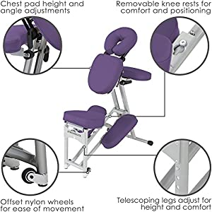 STRONGLITE Ergo Pro II Tragbarer Massagestuhl – Leichter, Faltbarer Tattoo & Spa Massagestuhl mit Rädern (8.5kg)