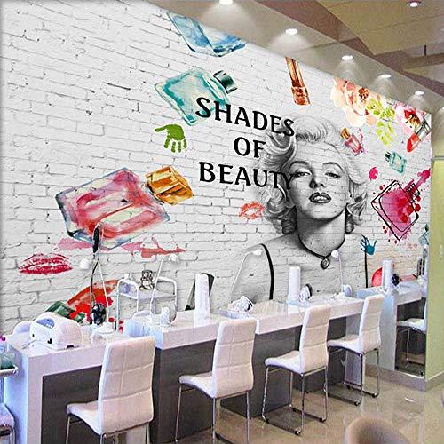 Sucsaistat Tapete Wandbild Tapete 3D Mode Ziegel Wand Kosmetik Malerei Wandbild Nagel Shop Bekleidungsgeschäft Hintergrund 3D Kunst Tapete, 300 * 210cm (Halloween Coole Für Nagel-kunst)