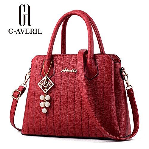 (G-AVERIL) PU pelle Donna borsa Designer Bag Fashion Borsa a Spalla Borse a Mano rosso