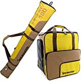 BRUBAKER Combo 'Superfunction 2.0' Ski Boot and Helmet Bag and 'Carver Pro 2.0' Ski Bag for 1 Pair of Ski up to 170 cm or 190 cm Brown / Yellow