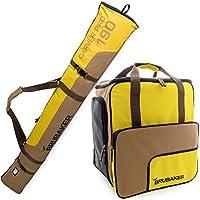 BRUBAKER Conjunto 'Super Function 2.0' Bolsa para botas y Casco de ski junto a 'Carver Pro 2.0' Bolsa para un par de Ski - Amarillo / Marrón - 170 cms.