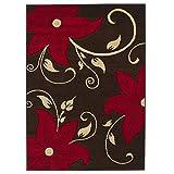 eRugs Think Rugs Designer-Stil Blumen Muster schmutzabweisend Superior Qualität handgeschnitzt Teppiche/Teppich Teppiche, braun/rot–120x 170cm
