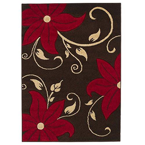 Think Rugs Designer-Stil Blumen Muster schmutzabweisend Superior Qualität handgeschnitzt Teppiche/Teppich Teppiche, braun/rot–120x 170cm (Teppich Pflaume Zeitgenössische)