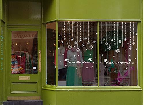 ZBYLL Weihnachten Fensteraufkleber Schneeflocke Ornamente Schaufenster Glas Hintergrund Dekorative Wand Aufkleber (Schneeflocke Glas Ornamente)