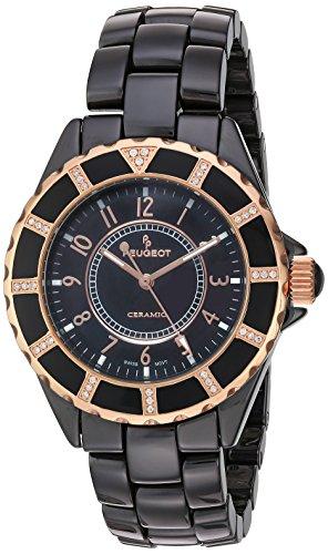 Peugeot Women's PS4893BK Swarovski Crystal-Accented Ceramic Bracelet Watch