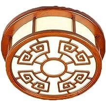 ayaya Madera lámpara LED redondo papel chinos pequeño plafón Madera geschnitzte rústico Manta imitación madera Proyección Rojo Dormitorio Vintage con motivos orientales Dormitorio Marrón 30cm