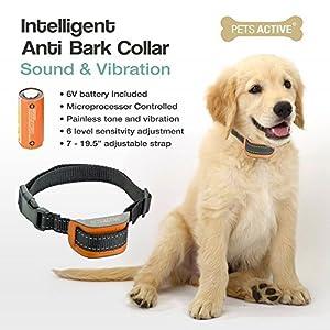 Collier de dressage de chien anti aboiement par Pets active, pour arrêt d'aboiement en douceur par son et vibration