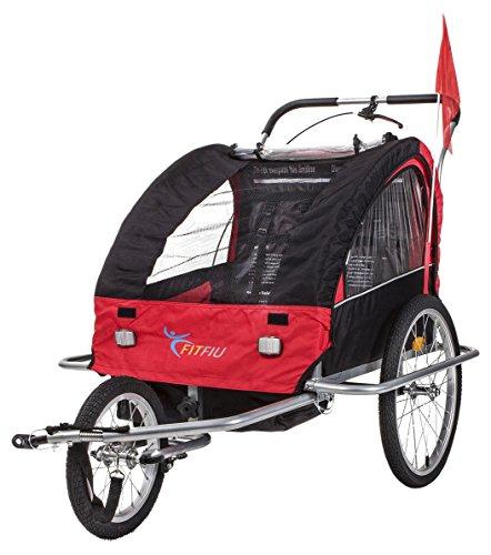 Fitfiu BI-TR-R Remolque de Bicicleta para Transporte, Unisex niños, Rojo, Única