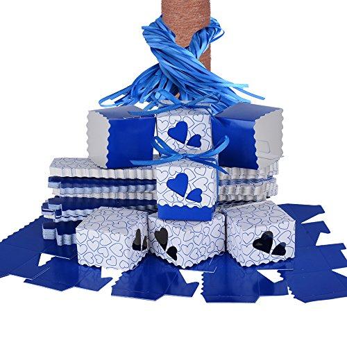 QUMAO 100 STK. Bonboniere 5x5x5 cm (mit 100 STK. SeidenBänder) Taufe Kartonage Geschenkboxen Hochzeit Pralinenschachtel Geschenkverpackung Süße Gastgeschenk süßigkeiten Weihnachten (Dunkelblau) (Seidenband 100%)