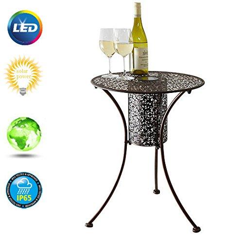 Garden Mile® Illumina Runder Bistro-Tisch aus gebürstetem Metall mit LED-Beleuchtung für Terrasse oder Garten, Durchmesser: 45cm - Weiße Outdoor-beistelltisch