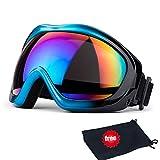 JTENG Maschera da sci di protezione maschera Occhialoni moto per attività esterna Motocicletta/Cross/ATV/Sci/Motociclo/Bicicletta Google Anti-UV Antinebbia len colorato